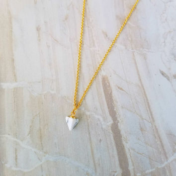 Pyramid Marble Charm Necklace- 16k gold plated
