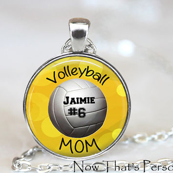 VOLLEYBALL MOM necklace with player's name and number - Personalized Volleyball mom necklace - your team color  - sports jewelry