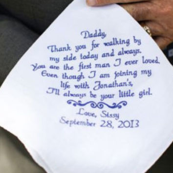 Dad Gift Personalized Hankerchief Wedding Gift from the Bride to her Father - Forever Your Little Girl - By Canyon Embroidery