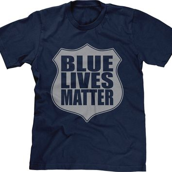 Blue Lives Matter Over Shield Badge T-shirt. Law Enforcement Tee