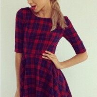 Plaid Pleated Sleeve Dress
