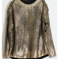 Metallic Gold Sweater with Spiked Shoulders