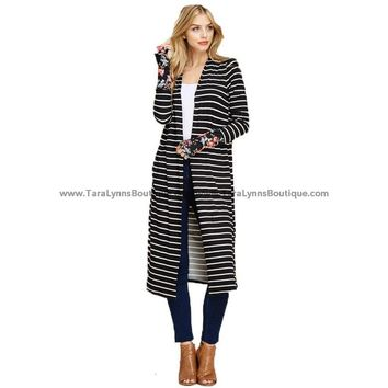 Striped Floral Duster