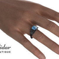 Flower Engagement Ring,Unique Engagement Ring,Black Gold Solitaire Ring By Vidar Botique,Blue Topaz Engagement Ring,Vintage Ring,Floral Ring