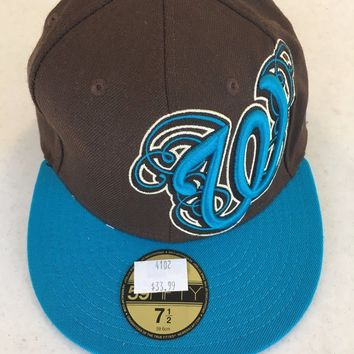 WASHINGTON NATIONALS MLB RETRO NEW ERA 5950 BROWN W/ TEAL BRIM FITTED HAT