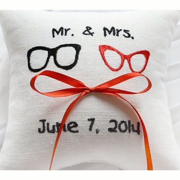 Mr & Mrs Embroidered Wedding ring pillow , Glasses wedding pillow ,personalized ring pillow, ring bearer pillow ,Custom embroidery (R89)