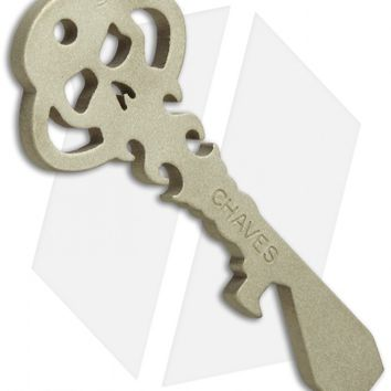 Chaves Knives Custom Skeleton Key Tool w/ Keyring Hole - Blasted Brass