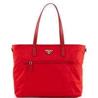Prada Vela Zip-Front Tote Bag, Red (Rosso)