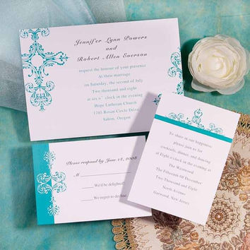 Tiffany Blue Wedding Invites Suite - Damask Brides Wedding Invitation - Simple and classic EWI051