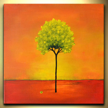 Kids room wall canvas art abstract landscape red orange green tree spring fresh and fun colorful acrylic painting for children by Zara M
