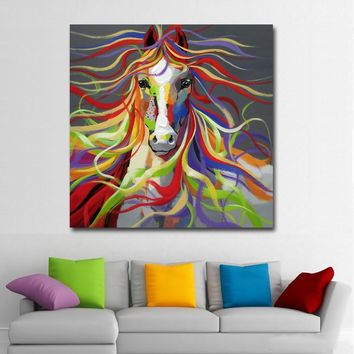 Abstract Animal Art Sexy Colorful Horse Flowing Hairs For Living Room Wall Art Posters And Prints Wall Pictures Home Decor