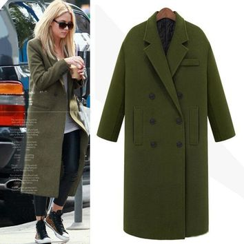 abrigos mujer British 2017 Winter Wool Cashmere Army green Military Maxi Long coat Noched thicken Warm Simple Outerwear