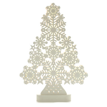 Lit Snowflake Wooden Tree