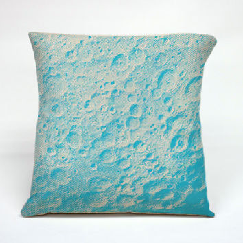 """Graphic Pillow Handcrafted Moon Glow in the Dark size 16 x 16"""" With Insert"""