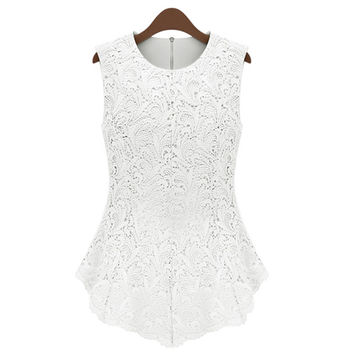 White Sleeveless Lace Blouse