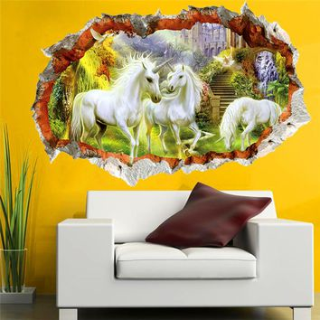 3d effect unicorn paradise through wall stickers for kids rooms living room decor cartoon white horse wall decals art diy mural