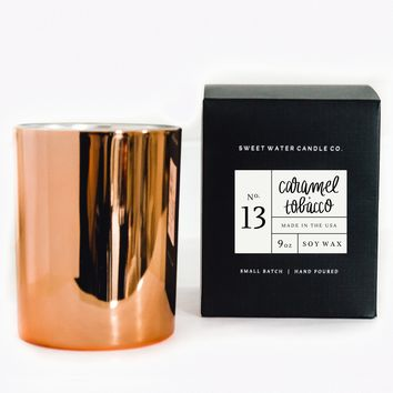 Caramel + Tobacco Soy Candle | Rose Gold Candle