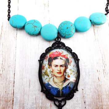 Mexican Frida Blue Necklace
