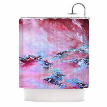 "Ebi Emporium ""Sea To Sky 3"" Pink Abstract Shower Curtain"