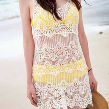 White Cut Out Lace Bikini Cover-Up