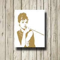 AUDREY HEPBURN Gold White Print Poster Printable Instant Download Digital Art Wall Art Home Decor G084w