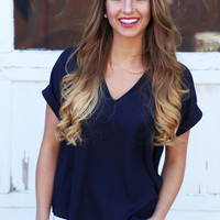 Making Me Blush Short Sleeve Blouse {Navy}