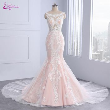 Waulizane Luxury Appliques Lace Scoop Mermaid Wedding Dresses Sleeveless Unique Embroidery Court Train Bridal Gowns With Button