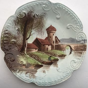 Vintage Hand Painted Embossed Plate Farmhouse / Cottage