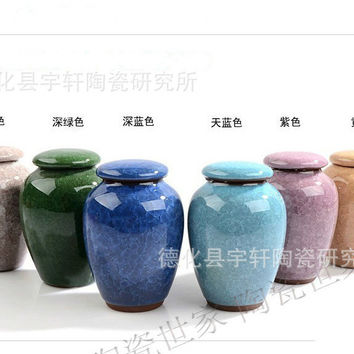 A Ice Cracked Glaze Tea Tin Redware Ceramic Tea Set Pu'er Tieguanyin Sealed Cans Tea Storage Chests