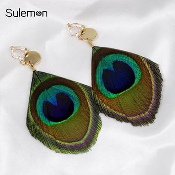 Peacock Feather Earrings No Hole Ear Clips Natural Feathers Clip Earrings Without Piercing Minimalist Women Long Earring CE179
