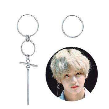 V BTS Earrings DNA Korean Earrings Long Men Bangtan Boys V DNA Stud Earring For Women Men BTS Album Accessories BTS Kpop
