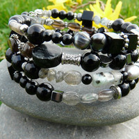 Striking Mixed Black and Grey Gemstones Memory Wire Wrap Bracelet Free Worldwide Shipping