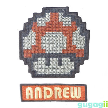 Mario Mushroom, Iron on Patch, Sew on Patch, Custom Patch, shirt sew on, shirt iron on patch, Baby Sew On, Birthday Patch, Name Iron on