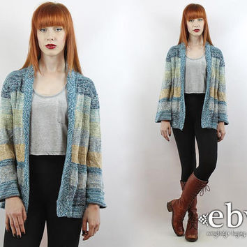 Vintage 70s Space Dye Open Boho Cardigan S M Hippie Cardigan Space Dye Cardigan Wrap Sweater Hippie Sweater Bell Sleeve Cardigan