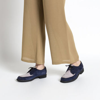 Vintage 90s Navy and Lavender Two-Toned Suede Oxford Hush Puppies | 9.5