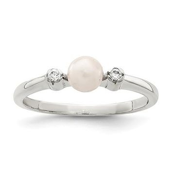 Sterling Silver CZ Freshwater Cultured Pearl Ring