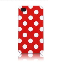 niceEshop Red Polka Dot Flex Gel Case for Iphone 4 & 4S
