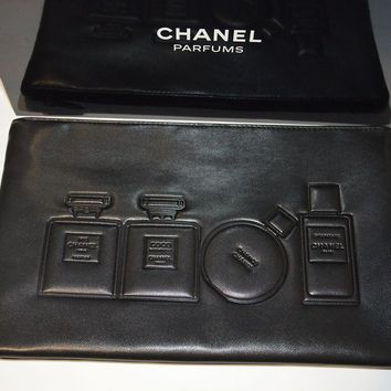 NEW VIP gift from Chanel beauty counter faux leather makeup black bag NIB
