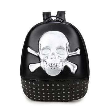 Leather Rock Style Rivet Skull 💀 🎒 Bag