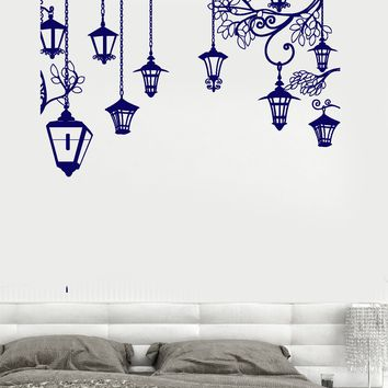 Wall Vinyl Decal Light Lantern Romantic Bedroom Decor Unique Gift z3772