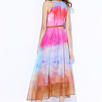 Watercolor Halter A-Line Chiffon Dress