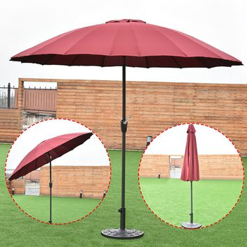 Outdoor 9ft Patio Umbrella Sunshade Cover Market Garden Cafe Crank Tilt Burgundy