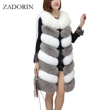 ZADORIN 2017 New Arrival Colored Long Faux Fur Vest Women Faux Fur Sleeveless Jacket Fake Fur Coats Fur Gilet fourrure Plus Size