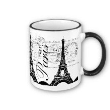 Vintage Paris & Eiffel Tower Label Coffee Mug