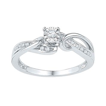 10kt White Gold Womens Round Diamond Solitaire Bridal Wedding Engagement Ring 1/8 Cttw