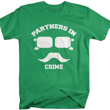 Unisex Best Friend Shirts Partners In Crime Hipster Mustache T-Shirt Funny Shirts Couples Matching Tees For Besties BFF's