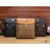 LV tide brand men and women classic old flower lock casual travel bag backpack