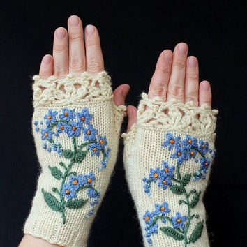 Knitted Fingerless Gloves, Forget-Me-Not, Gloves & Mittens, Gift Ideas, For Her, Winter Accessories, Mother's Day Gifts,Fashion, Accessories