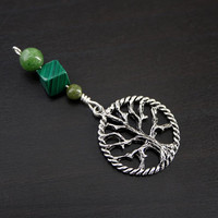 Jade Malachite Green Serpentine Tree of Life Blessingway bead - Blessing, baby shower gift, pregnancy gift, doula gift, green pendant