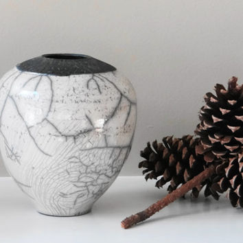 Small White Crackle Raku vase, Father's day gift, Black and White vase, modern vase, studio pottery, minimalist vase